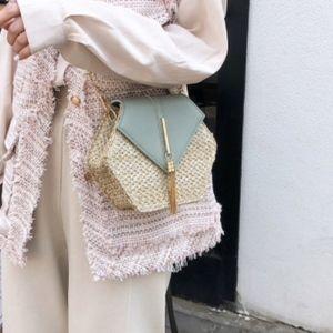 Handbags - Rattan Woven Crossbody Handbag Gold Chain & Tassel